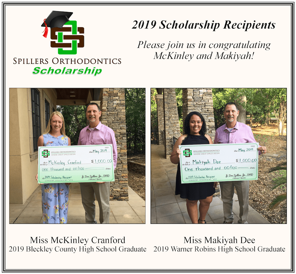 spillers orthodontics 2019 scholarship recipients makiyah and mckinley