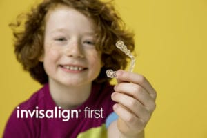 Invisalign First - Child with invisalign clear aligner