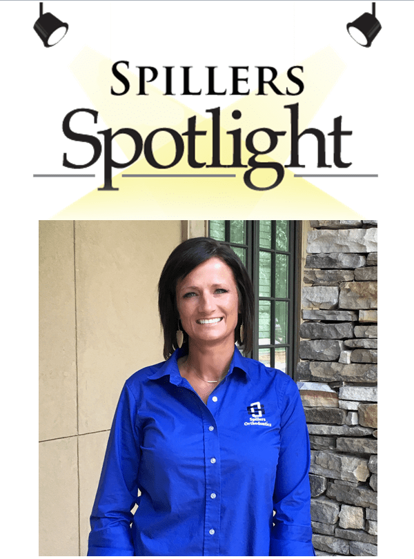 Spillers Spotlight, Aenon, New Patient Coordinator, Woman in blue button up, Spillers Orthodontics