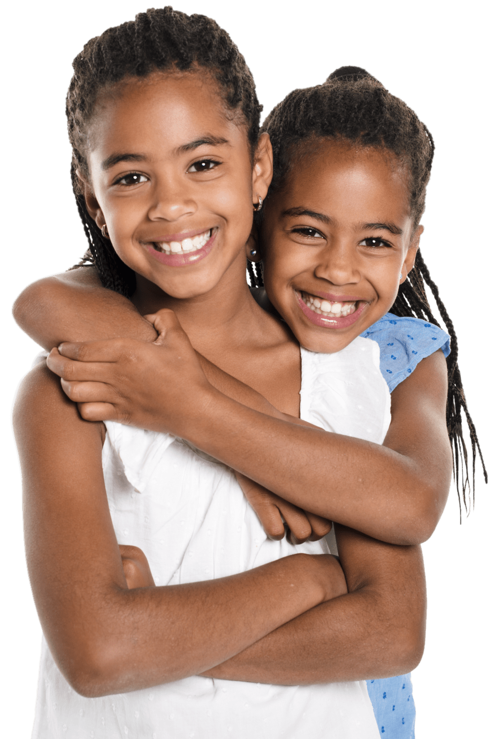 two girls smiling and hugging