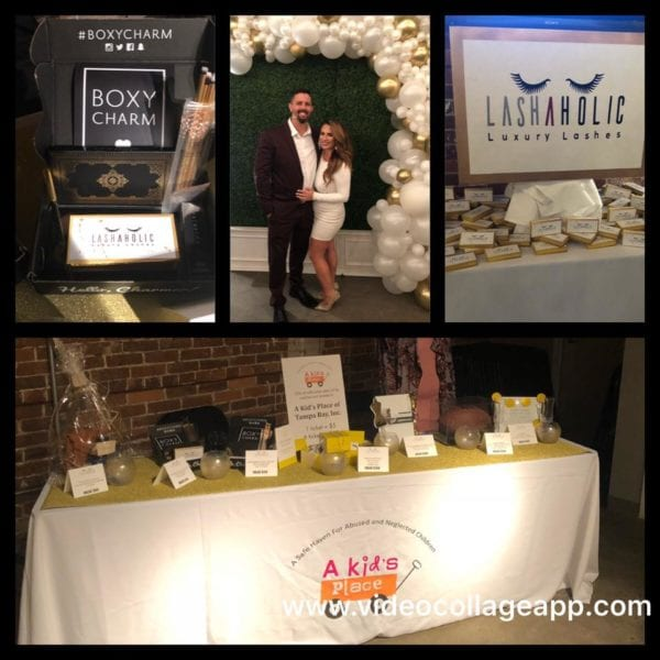 Collage of event pictures showing table decorations and gifts from the brand Lashaholic
